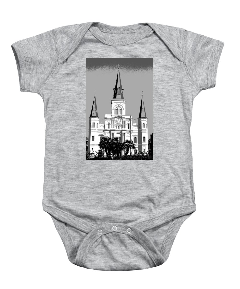St. Louis Cathedral Baby Onesie featuring the digital art St Louis Cathedral Poster 1 by Alys Caviness-Gober