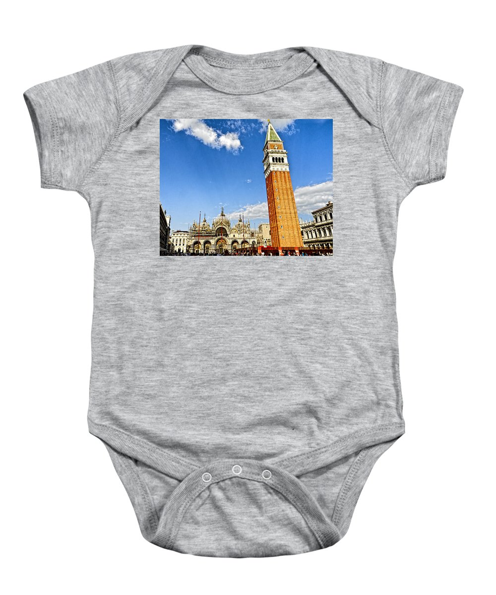 Venice Italy Baby Onesie featuring the photograph St Marks Square - Venice Italy by Jon Berghoff