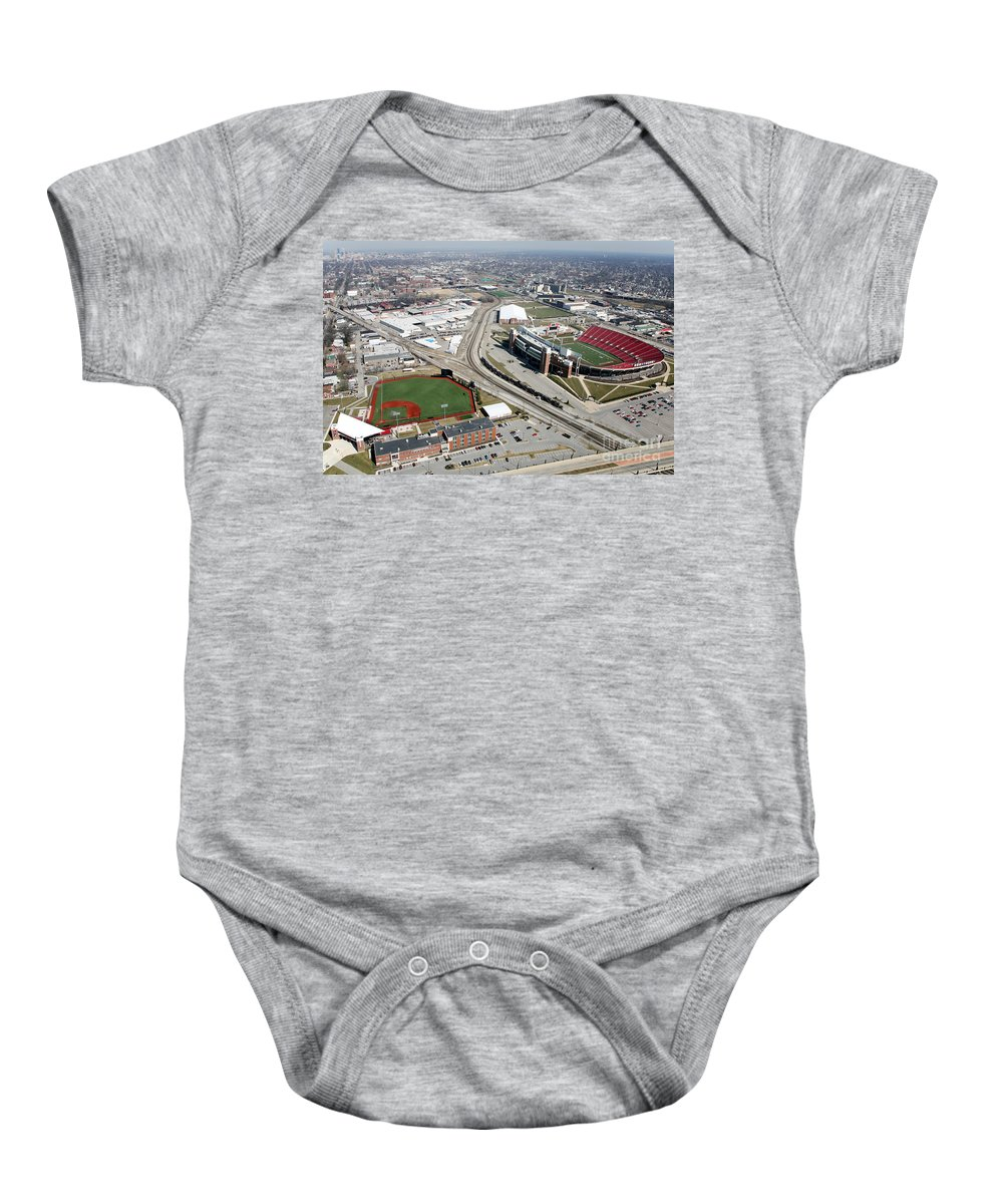 Jim Patterson Stadium Baby Onesie featuring the photograph Stadiums University Of Louisville by Bill Cobb