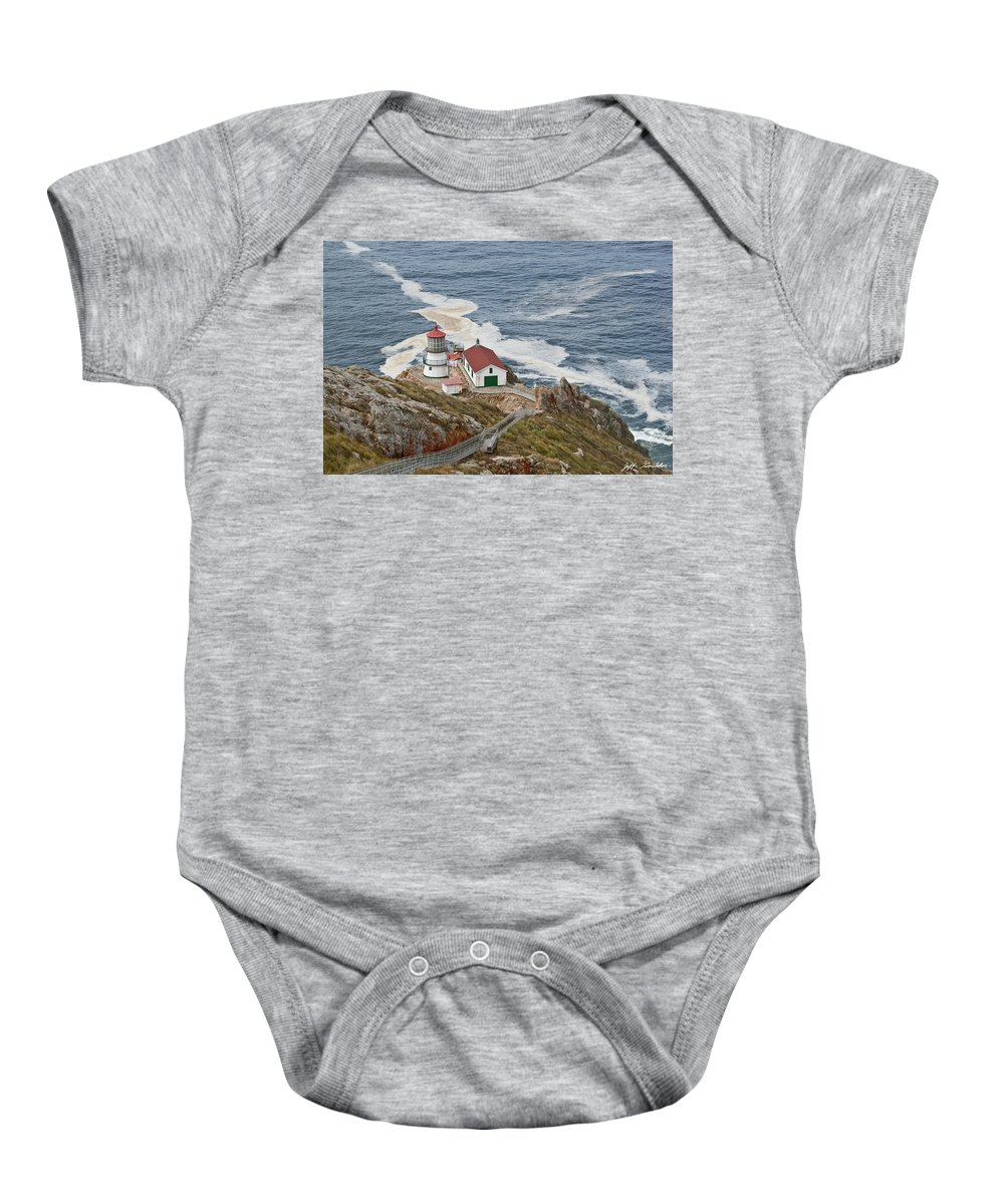 Architecture Baby Onesie featuring the photograph Stairway Leading To Point Reyes Lighthouse by Jeff Goulden