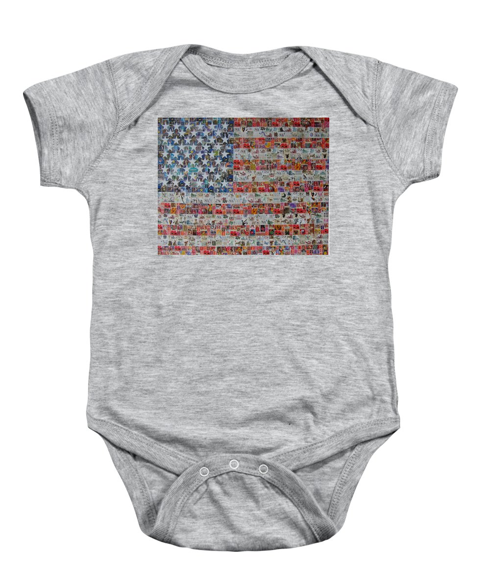 Stars And Stripes Baby Onesie featuring the painting Stamps And Stripes Renegade Colony by Gary Hogben