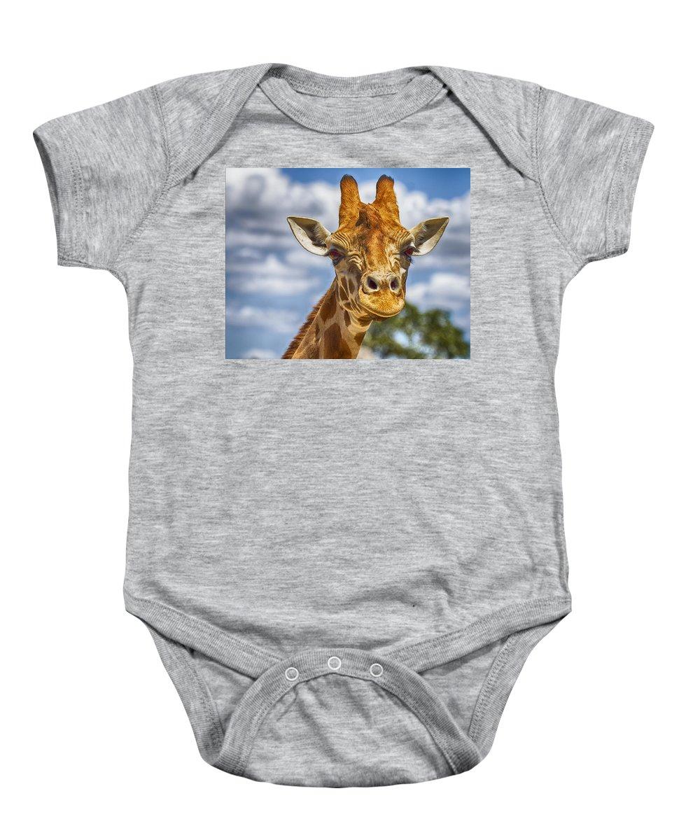 Giraffe Baby Onesie featuring the photograph Standing Tall V2 by Douglas Barnard