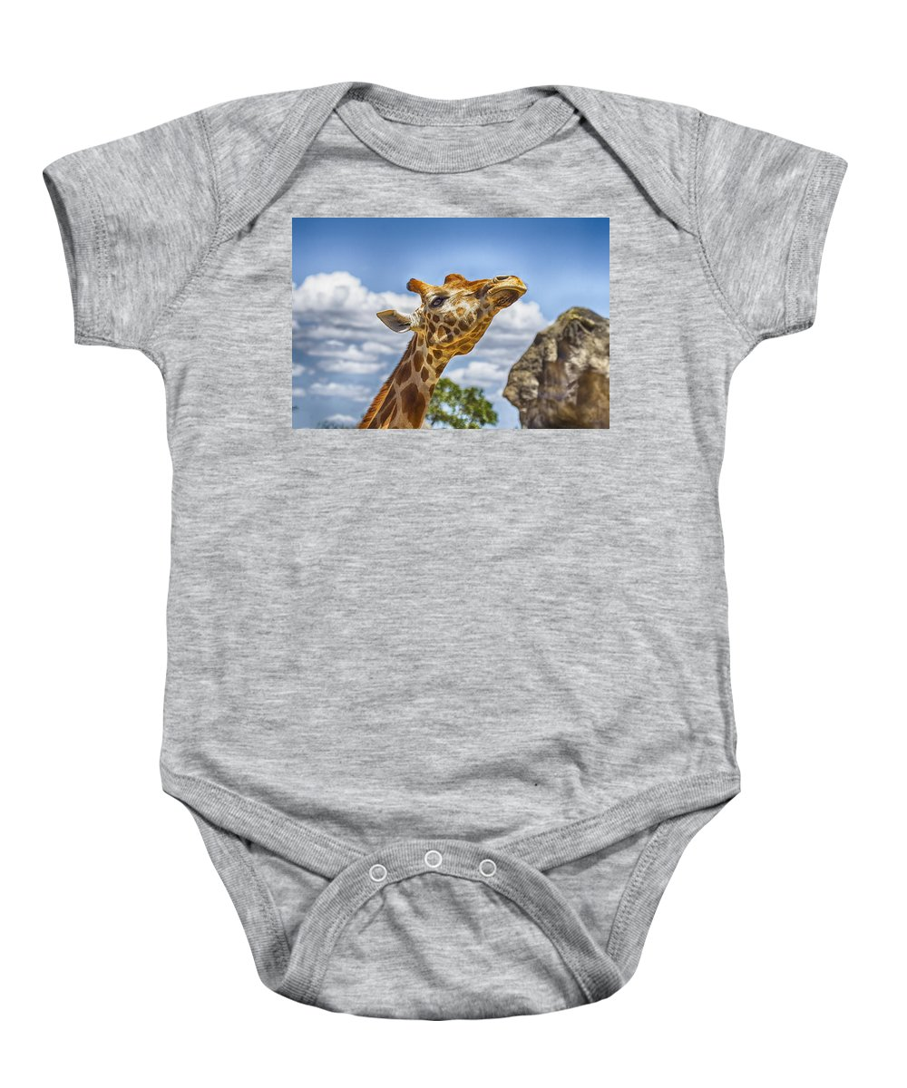 Giraffe Baby Onesie featuring the photograph Standing Tall V3 by Douglas Barnard