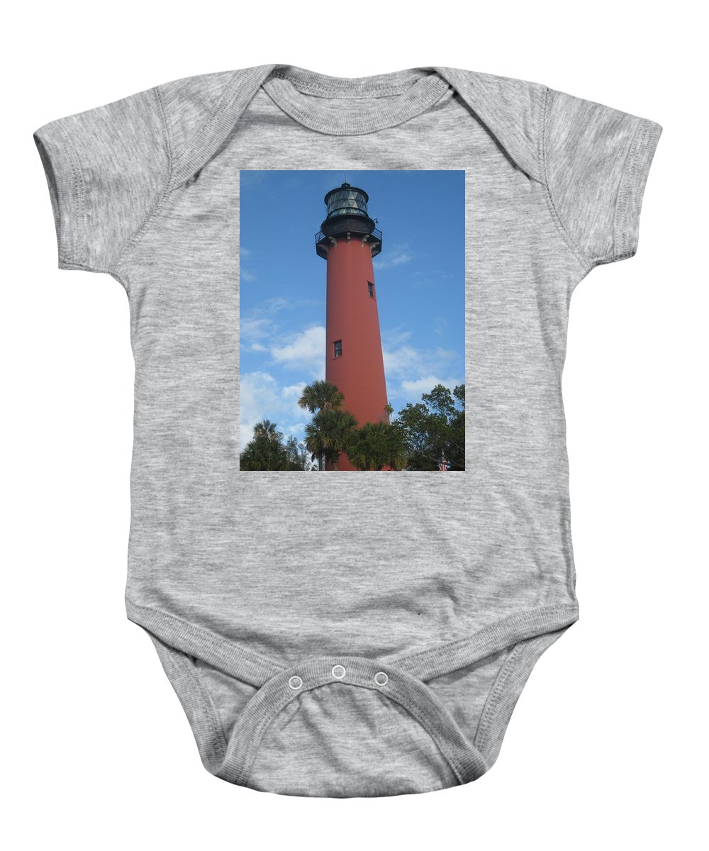 Jupiter Lighthouse Baby Onesie featuring the photograph Standing Up Above The Trees by Catie Canetti