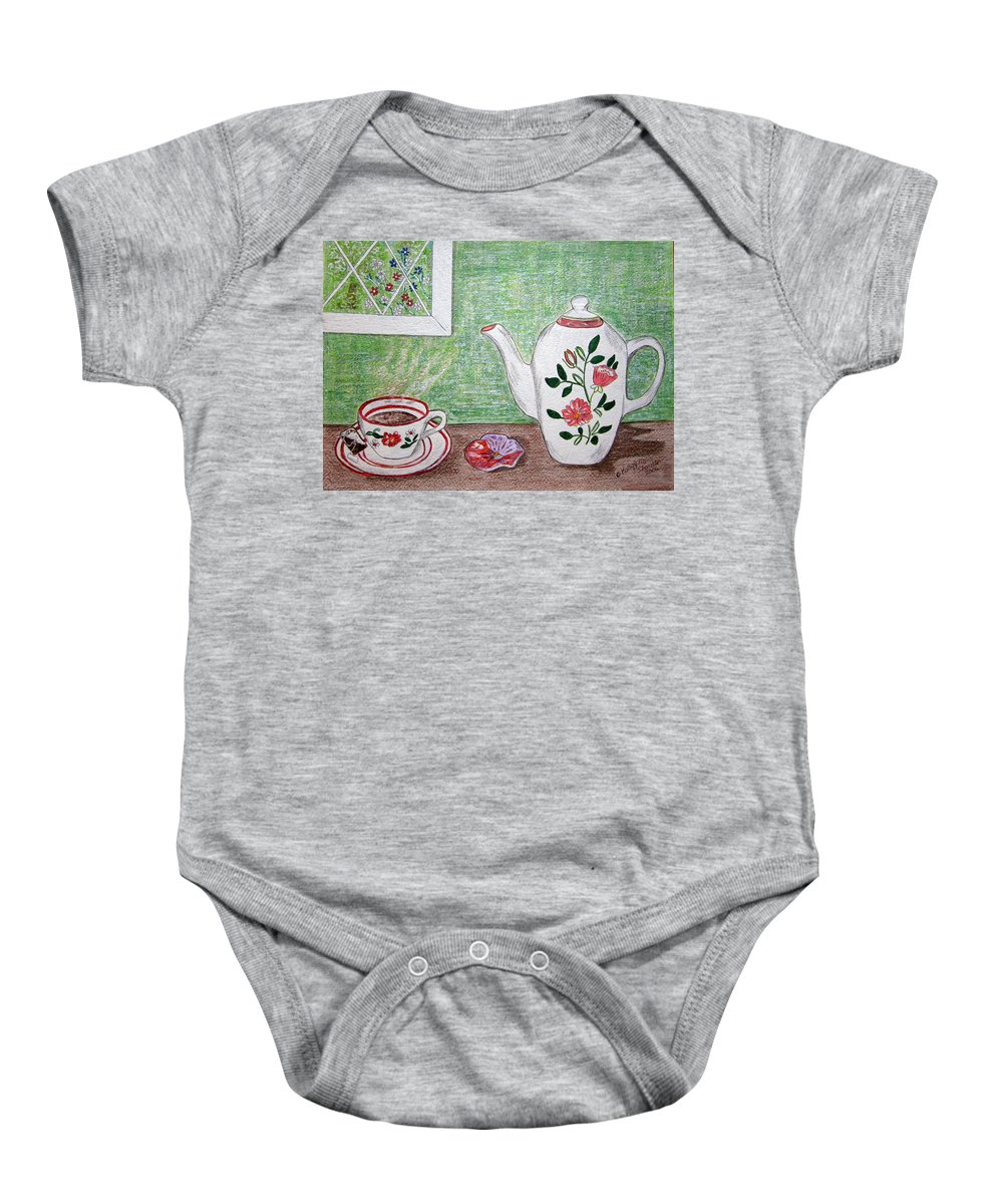 Stangl Pottery Baby Onesie featuring the painting Stangl Pottery Rose Pattern by Kathy Marrs Chandler