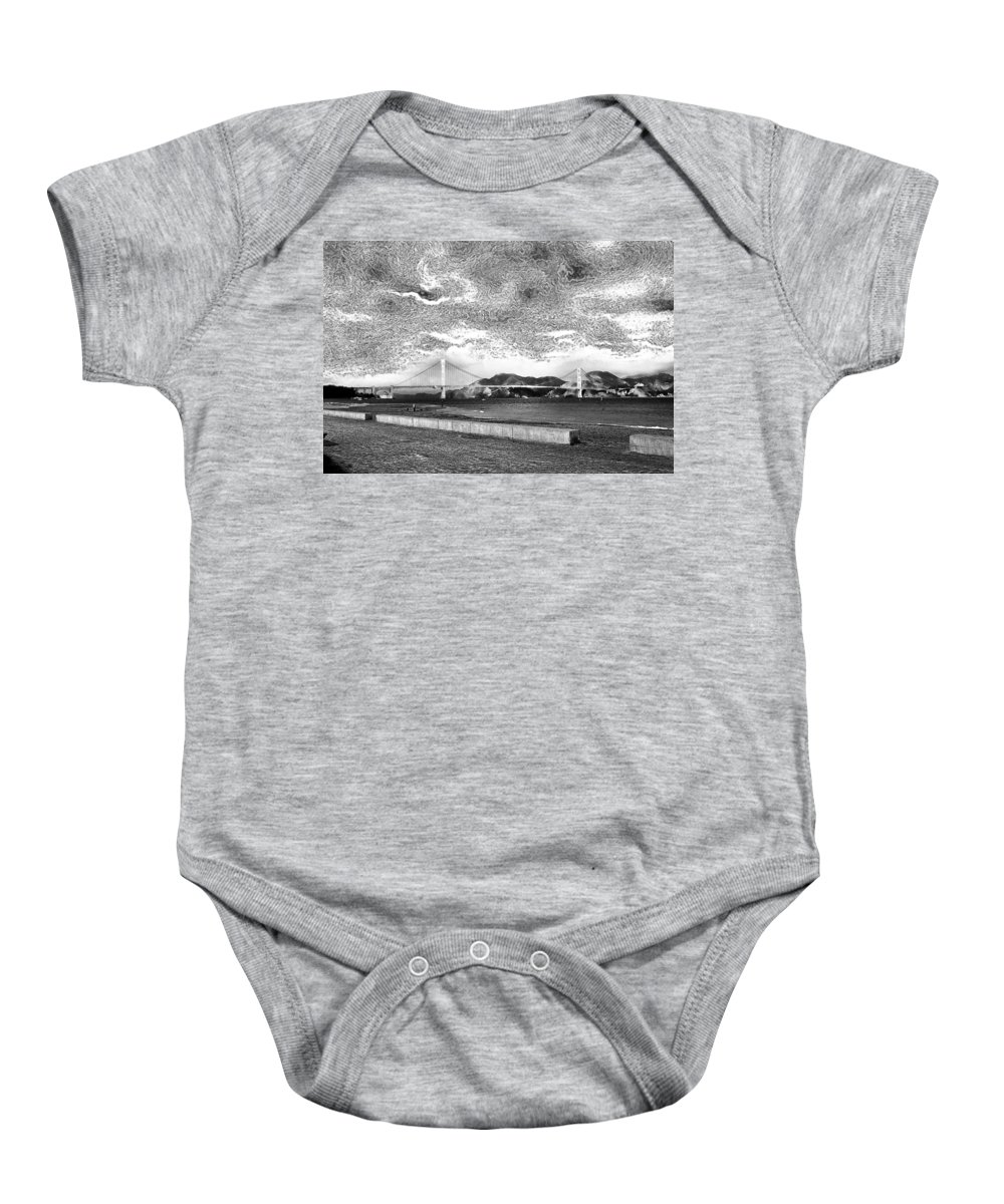 Abstract Baby Onesie featuring the photograph Starry Bay Day by Joseph Yvon Cote