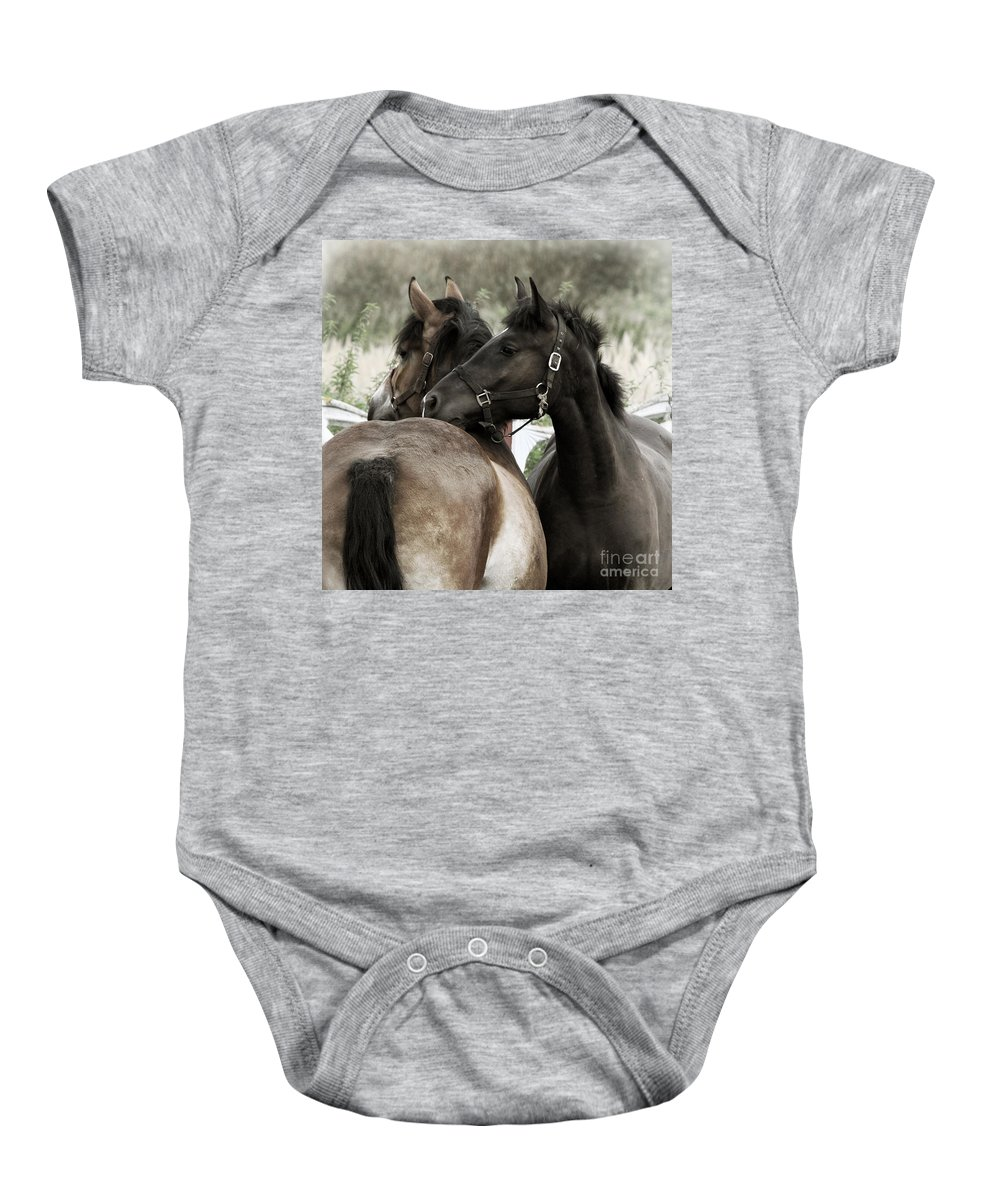 Valentines Baby Onesie featuring the photograph Staying Together by Angel Tarantella