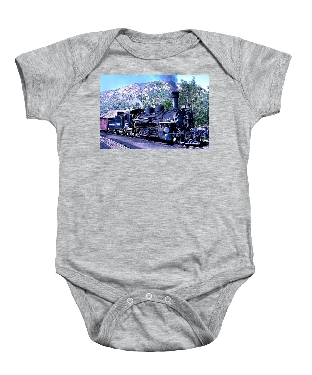 Train Baby Onesie featuring the photograph Steam Locomotive by Kume Bryant
