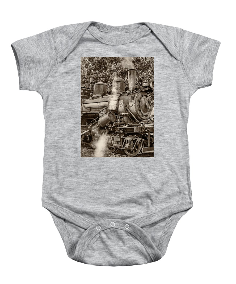 Pocahontas County Baby Onesie featuring the photograph Steam Power Sepia by Steve Harrington