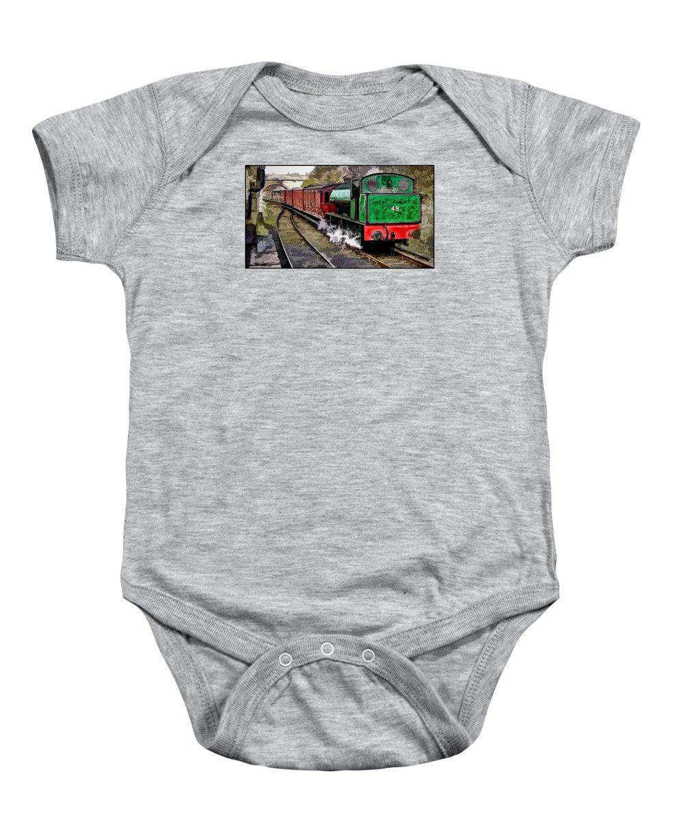Trains Baby Onesie featuring the digital art Steam Train by John Lynch