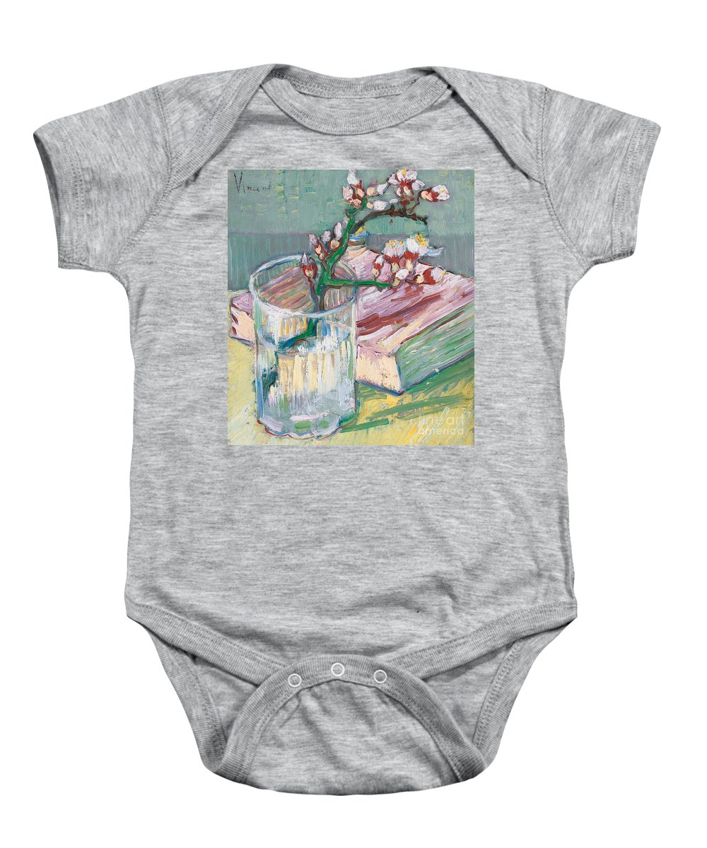 Still-life Baby Onesie featuring the painting Still Life  A Flowering Almond Branch by Vincent Van Gogh