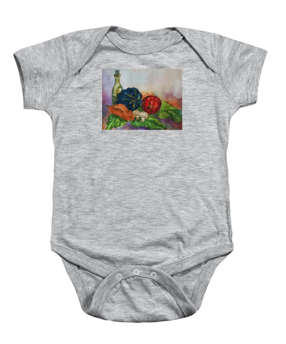 Still Life Baby Onesie featuring the painting Still Life With Bottle by Ellen Levinson