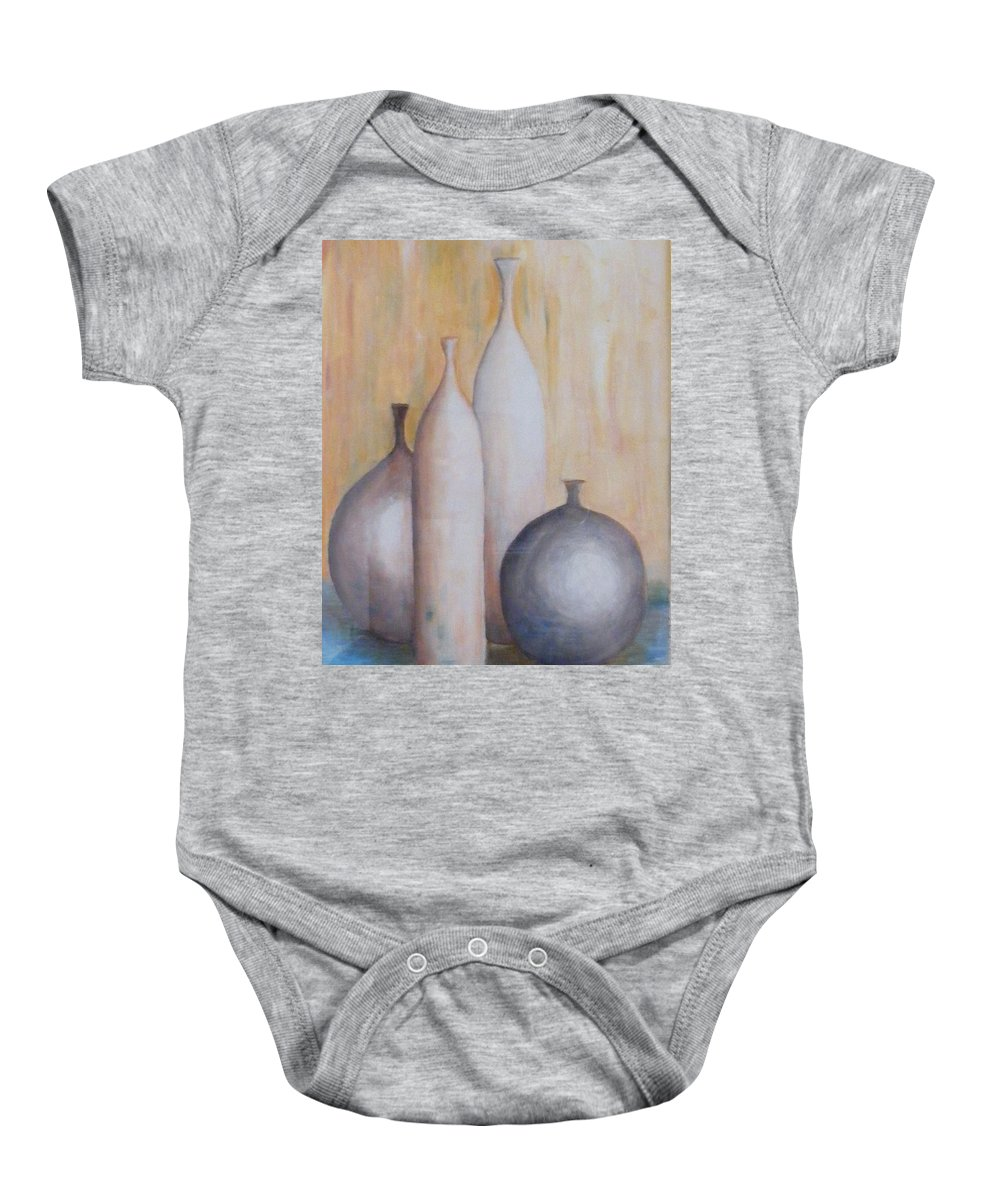 Bottle Baby Onesie featuring the painting Still Life With Bottles by Barbara Jacquin