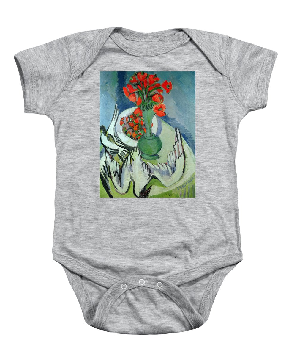 Seagull Baby Onesie featuring the painting Still Life With Seagulls Poppies And Strawberries by Ernst Ludwig Kirchner