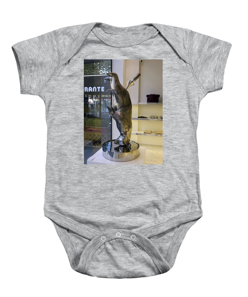 Paris Baby Onesie featuring the photograph Store Window Art On Champs Elysees In Paris France by Richard Rosenshein