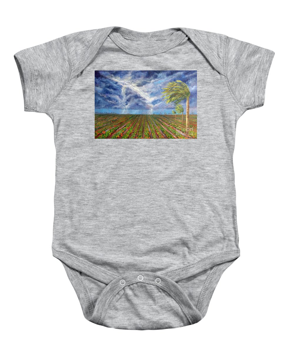Palm Tree Baby Onesie featuring the painting Storm Over Homestead by Alina Martinez-beatriz