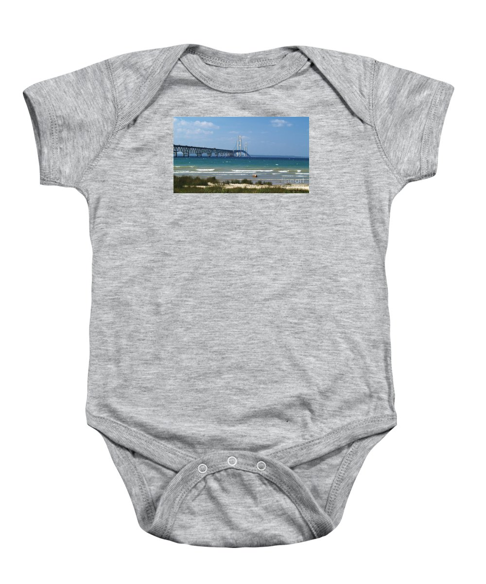 Mackinaw Bridge Baby Onesie featuring the photograph Straits Of Mackinac by Melissa McDole