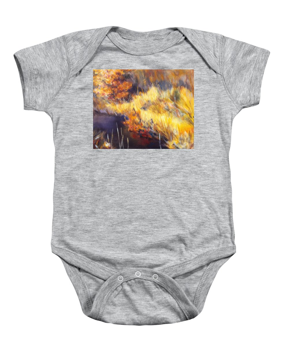Stream Baby Onesie featuring the painting Stream by Kendall Kessler