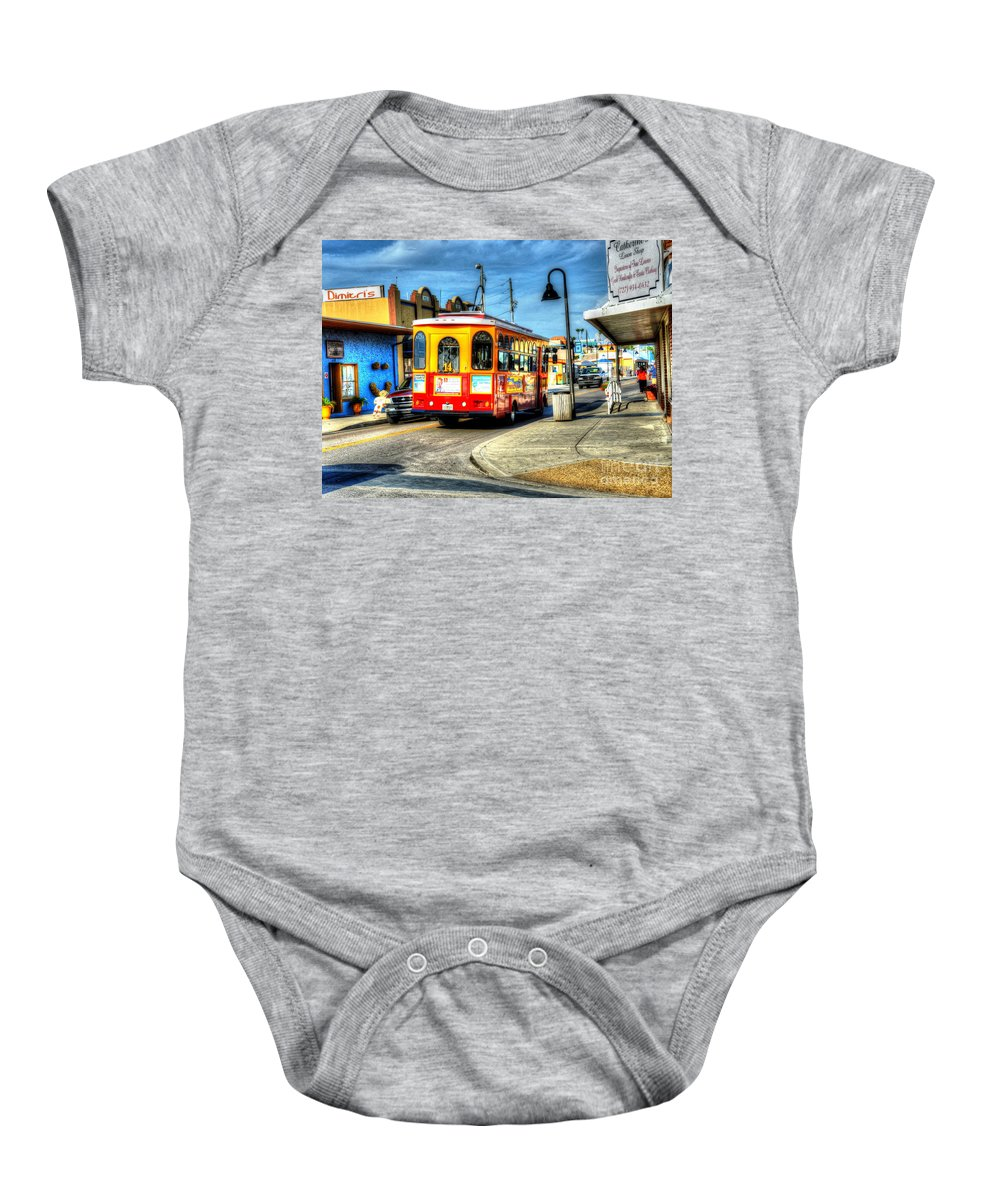 Bus Baby Onesie featuring the photograph Street Car Named Desire by Debbi Granruth