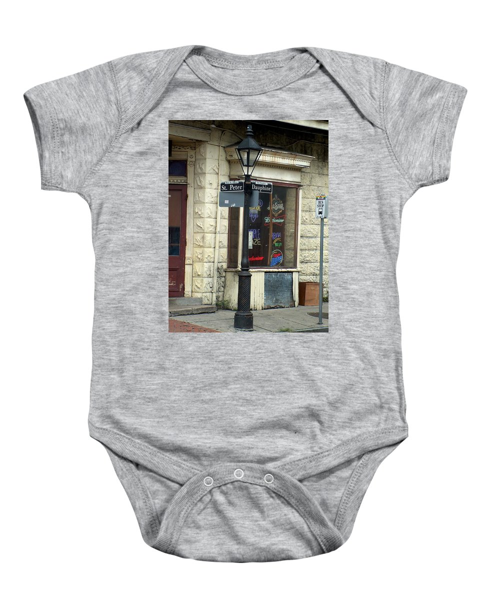New Orleans Baby Onesie featuring the photograph Street Corner In New Orleans by Richard Booth