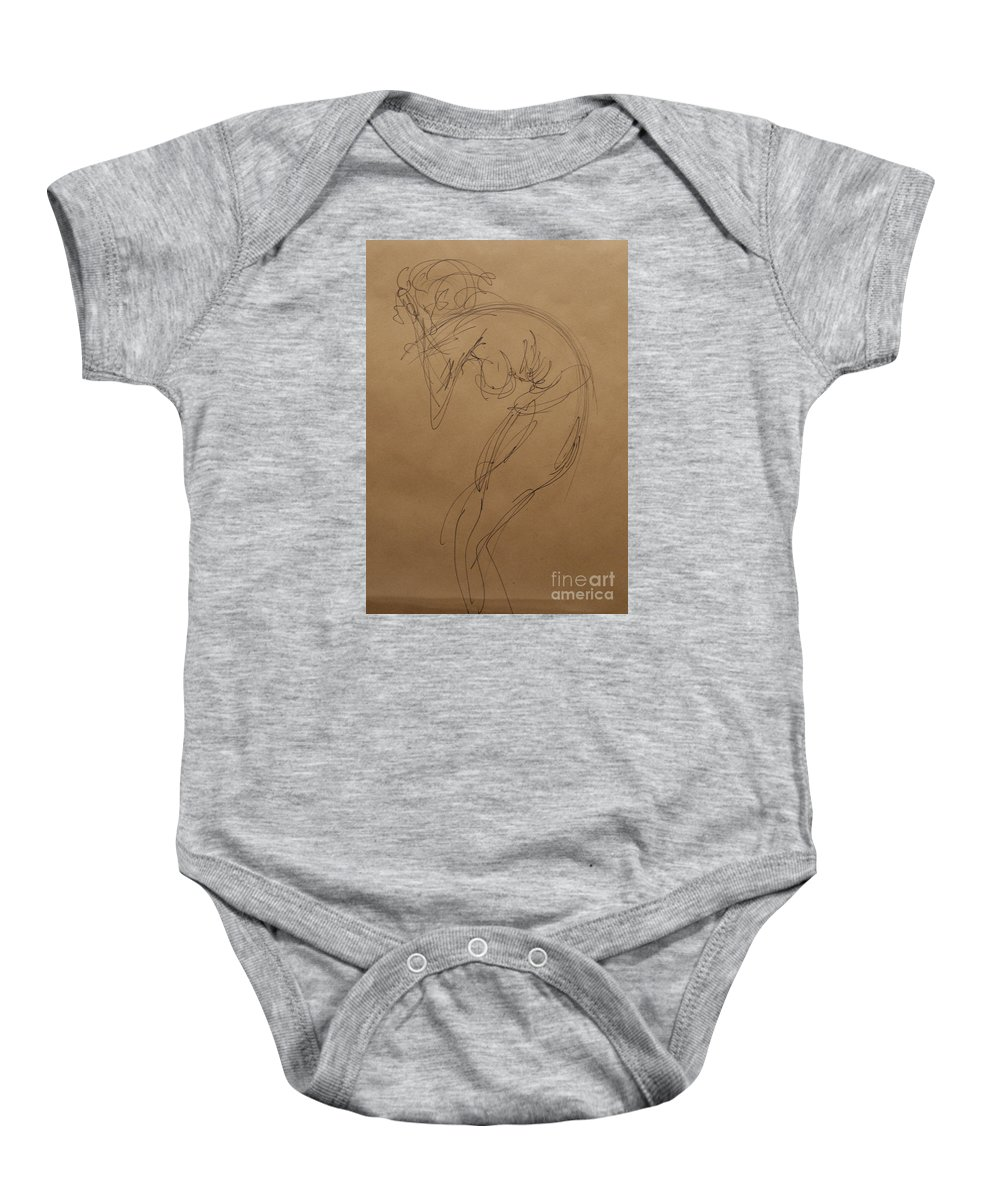 Nude Expressive Drawing In Ink Baby Onesie featuring the painting Stress by Heather Hennick