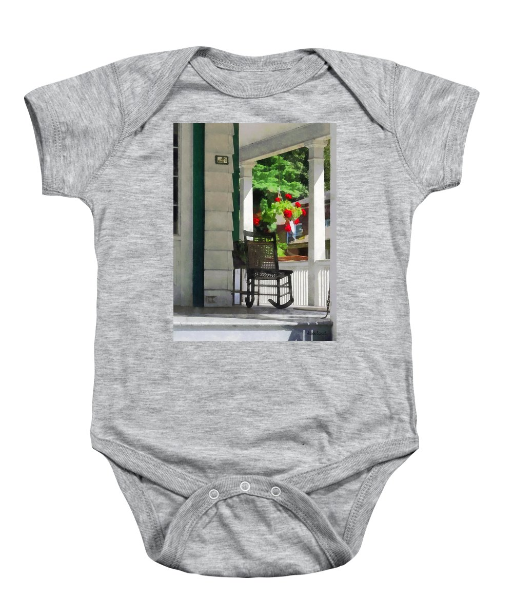 Porch Baby Onesie featuring the photograph Suburbs - Porch With Rocking Chair And Geraniums by Susan Savad