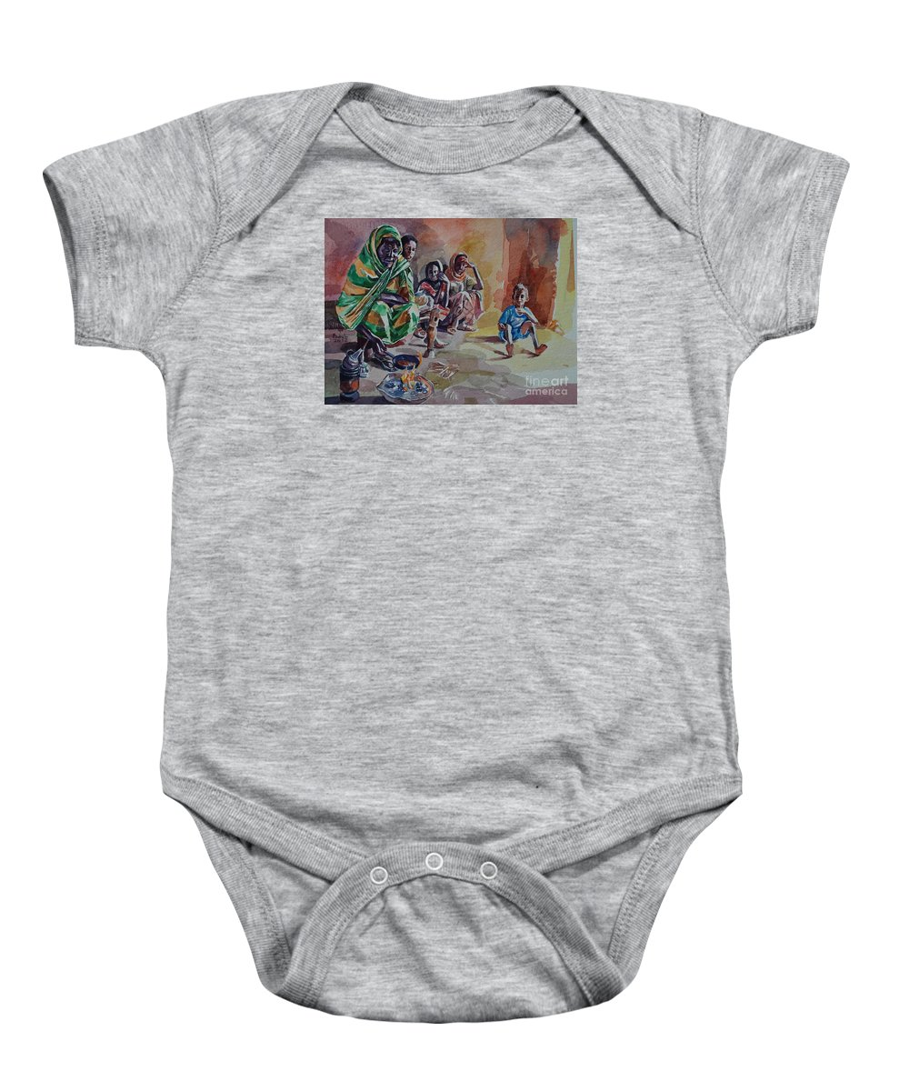 Sudanese Coffee Baby Onesie featuring the painting Sudanese Coffee by Mohamed Fadul