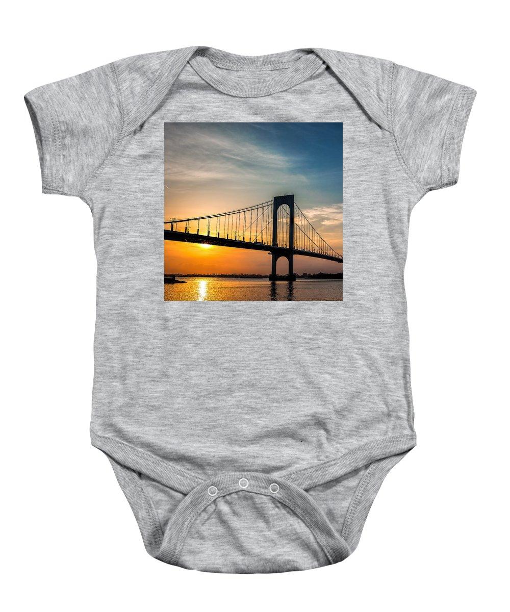 Bridge Baby Onesie featuring the photograph Sun Block by Glenrick Kerr
