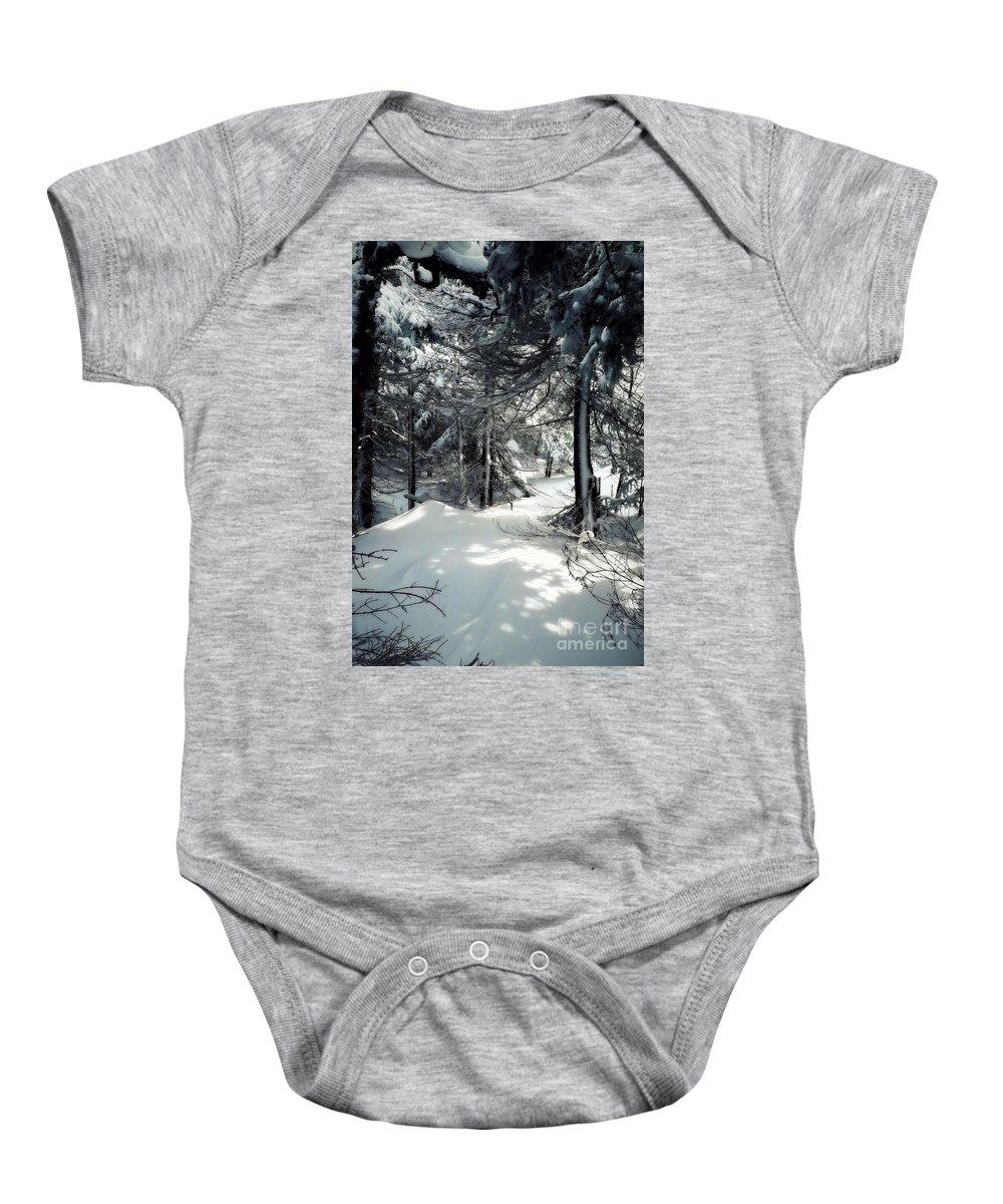 Winter Baby Onesie featuring the photograph Sun Dappled Snow by James Aiken