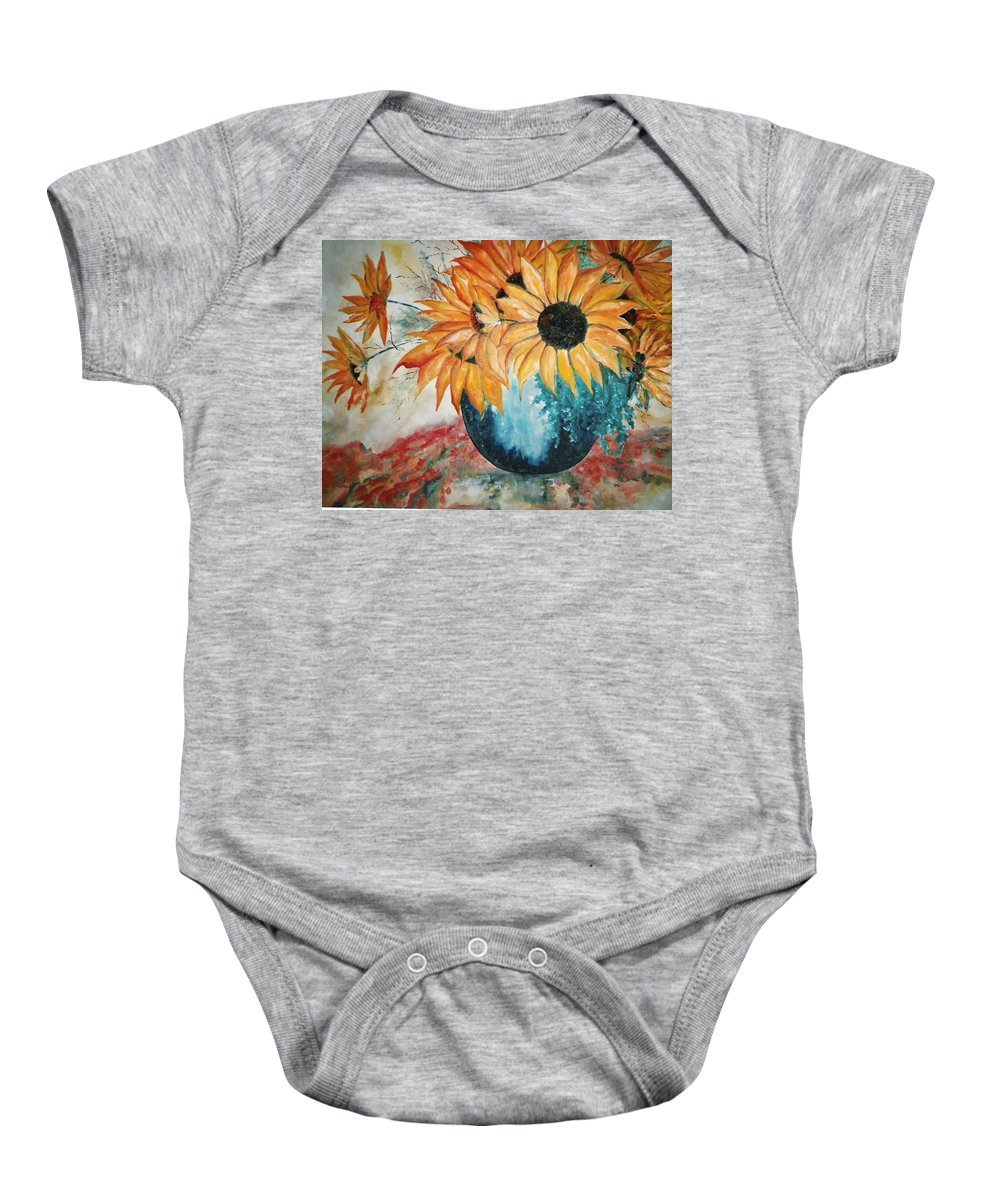 Sun Flower Baby Onesie featuring the painting Sun Flowers by Lord Frederick Lyle Morris