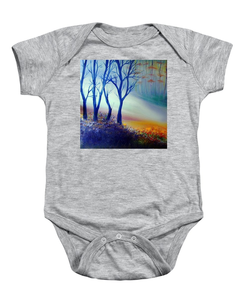 Original Art Baby Onesie featuring the painting Sun Ray In Blue by Lilia D