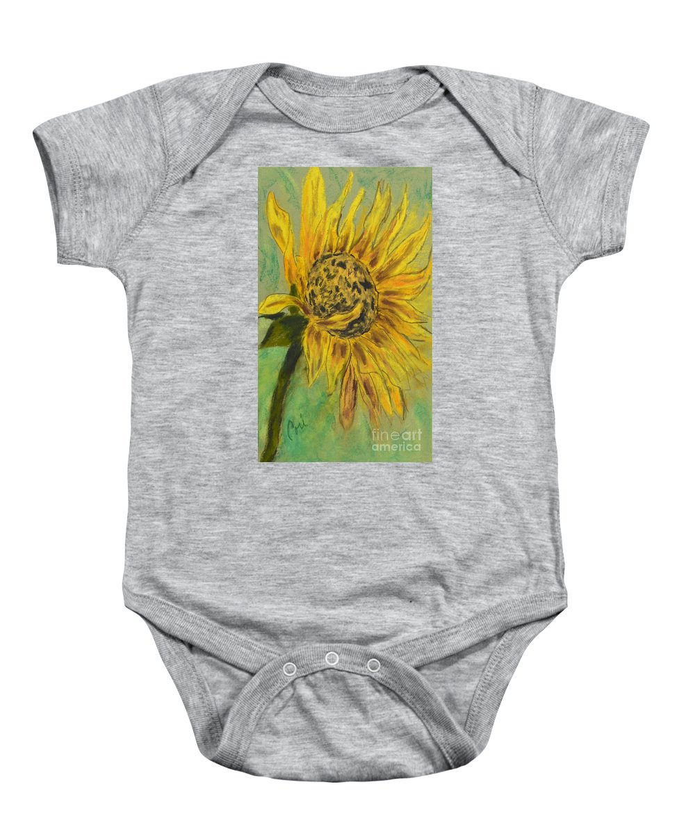 Sunflower Baby Onesie featuring the drawing Sunburst by Cori Solomon