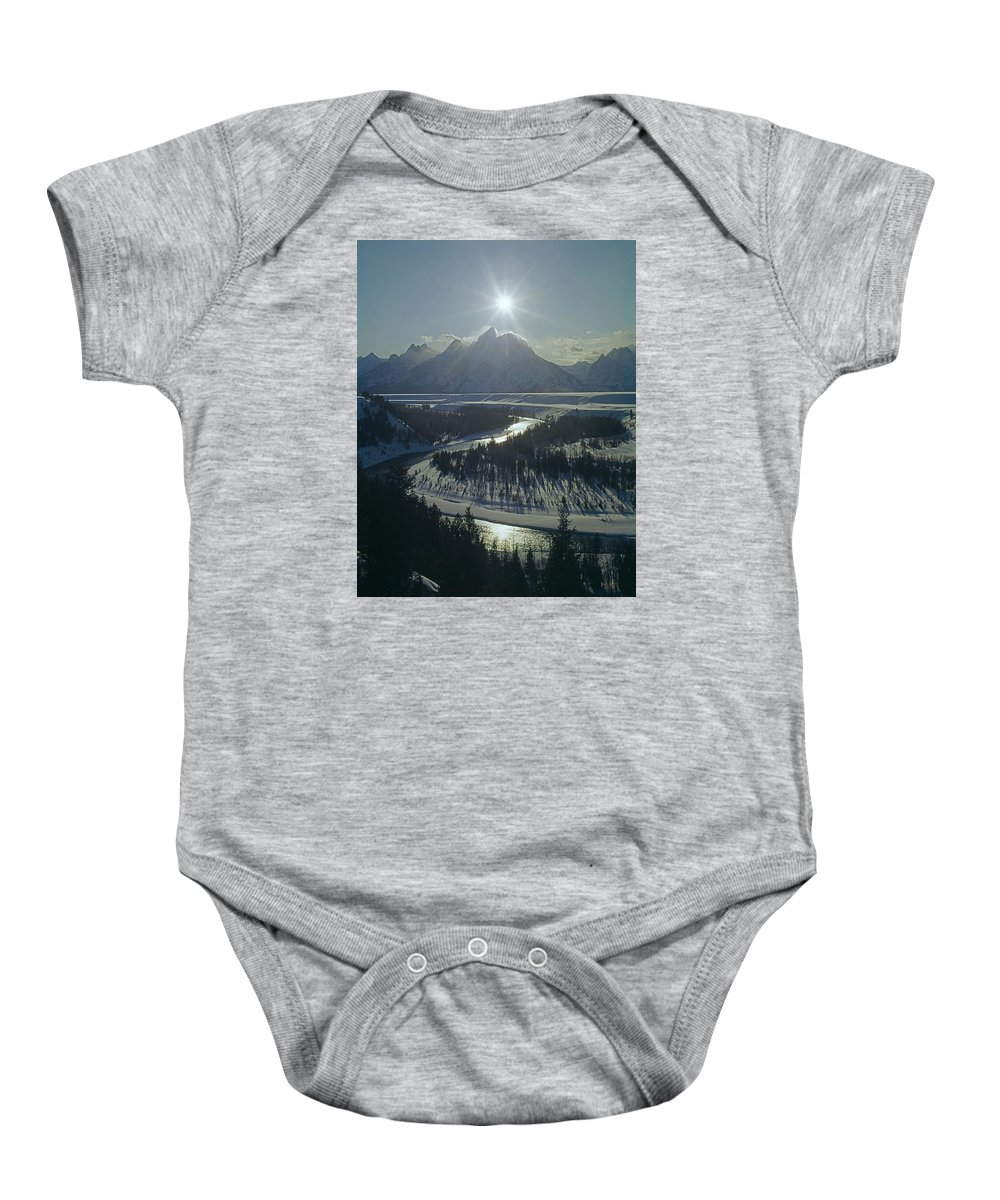 Sunburst Baby Onesie featuring the photograph 1m9313-sunburst Over Grand Teton, Wy by Ed Cooper Photography