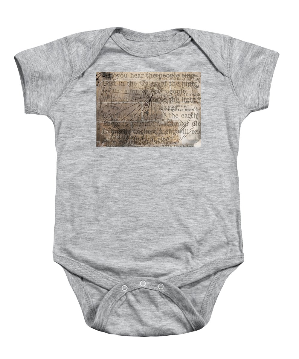 Arch Baby Onesie featuring the photograph Sundial With Les Miz by Evie Carrier