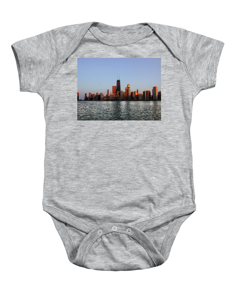 Landscapes Baby Onesie featuring the photograph Sundown In The Chicago Canyons by Thomas Woolworth