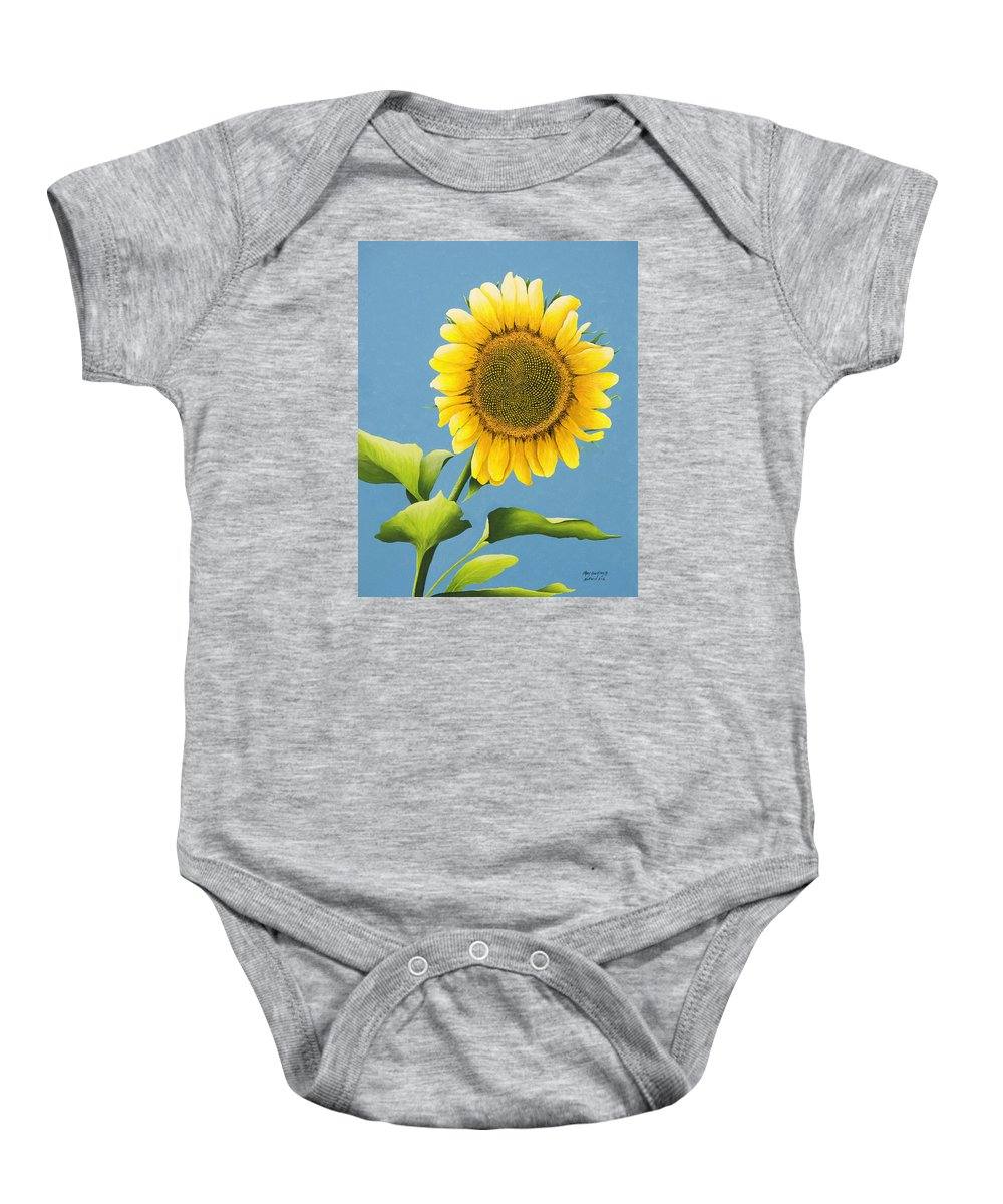 Sunflower Paintings Baby Onesie featuring the painting Sunflower Charm by Mary Ann King