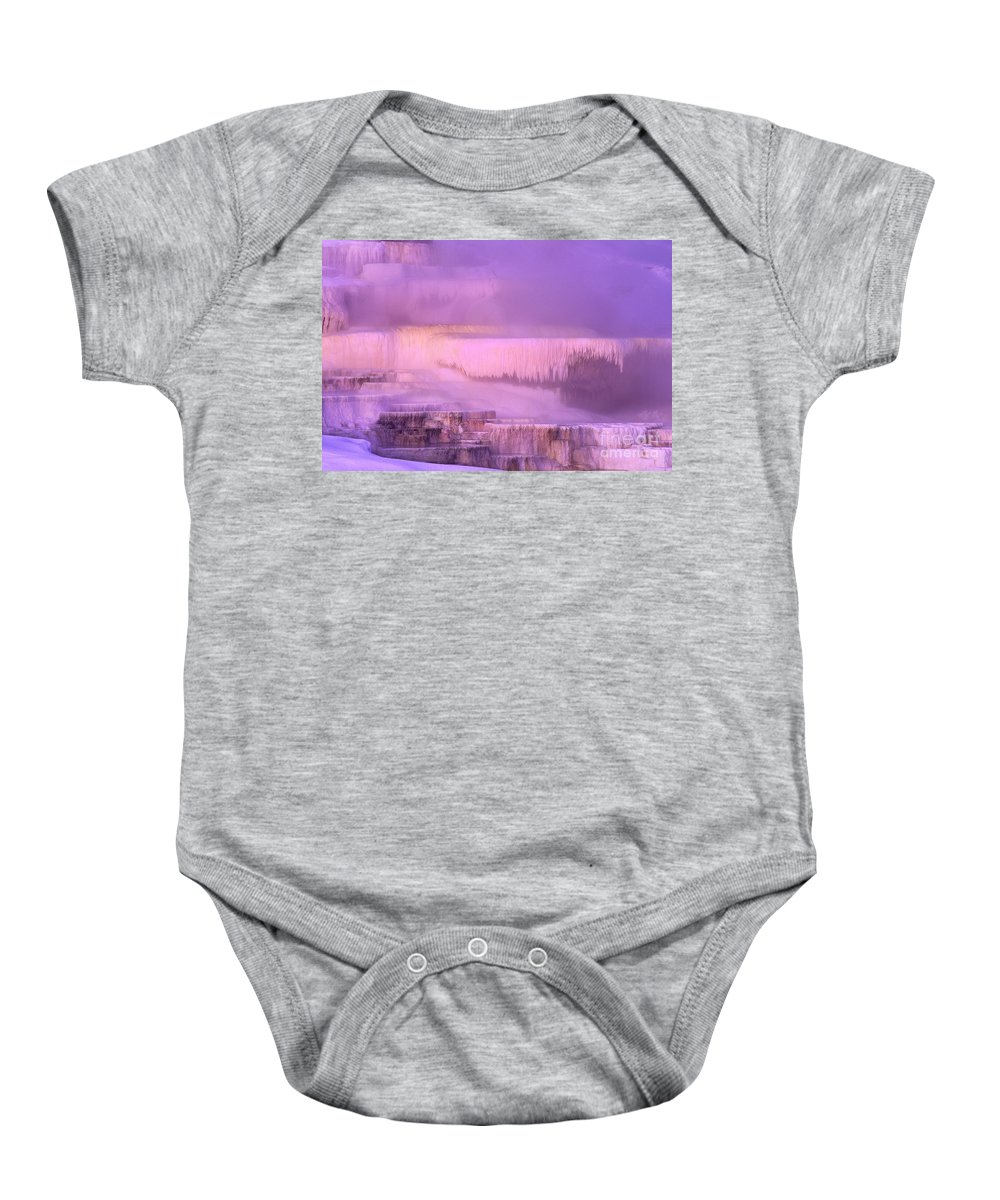North America Baby Onesie featuring the photograph Sunrise At Minerva Springs Yellowstone National Park by Dave Welling
