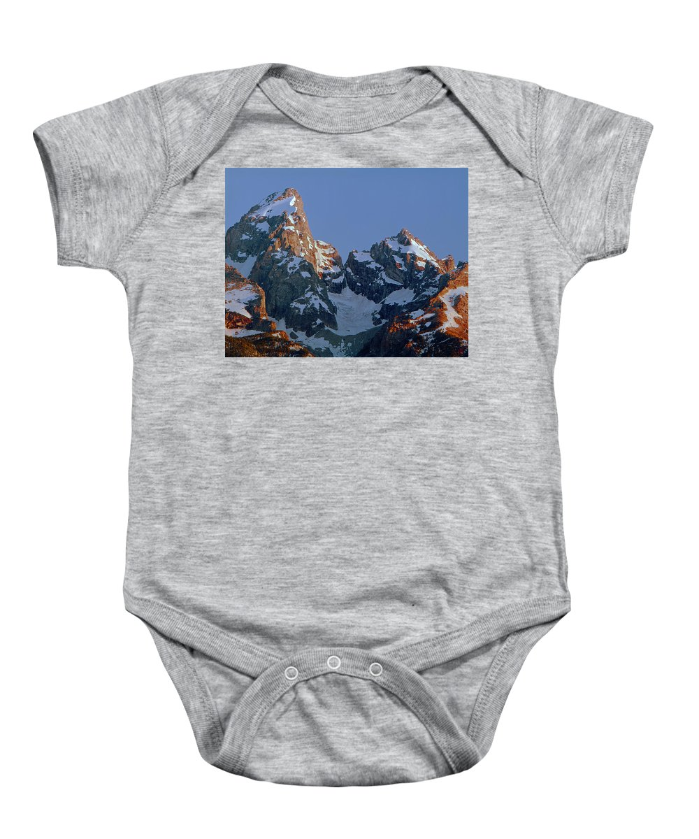 Sunrise Baby Onesie featuring the photograph 1m9333-h-sunrise On Grand Teton by Ed Cooper Photography