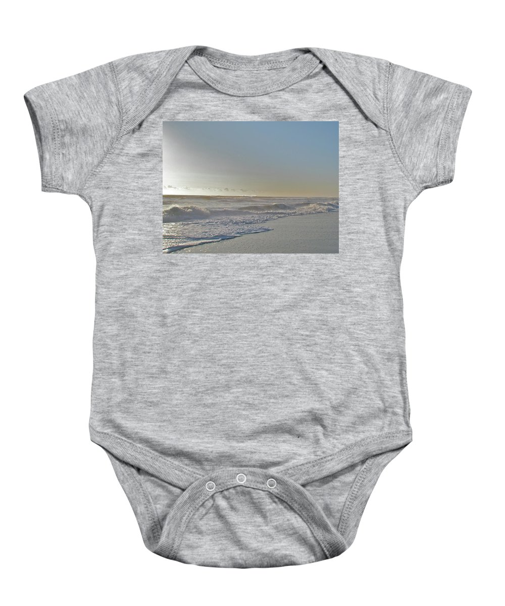 Sunrise Baby Onesie featuring the photograph Sunrise Surf - Island Beach State Park Nj by Mother Nature