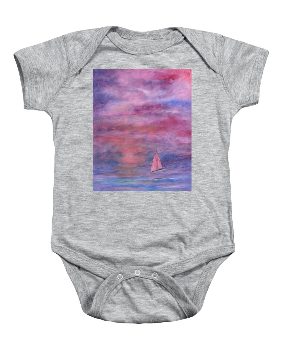 Saling Baby Onesie featuring the painting Sunset Adventure by Ben Kiger
