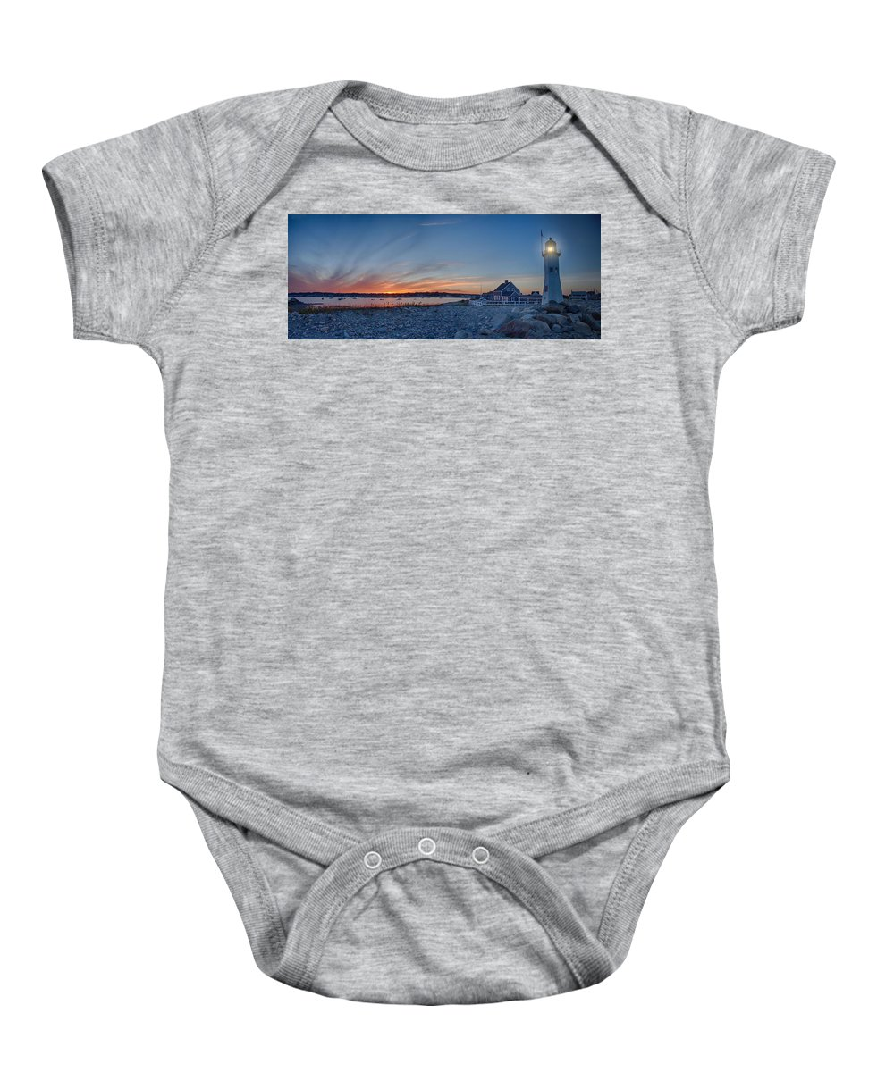 Maritime History Baby Onesie featuring the photograph Sunset At Scituate Light by Jeff Folger