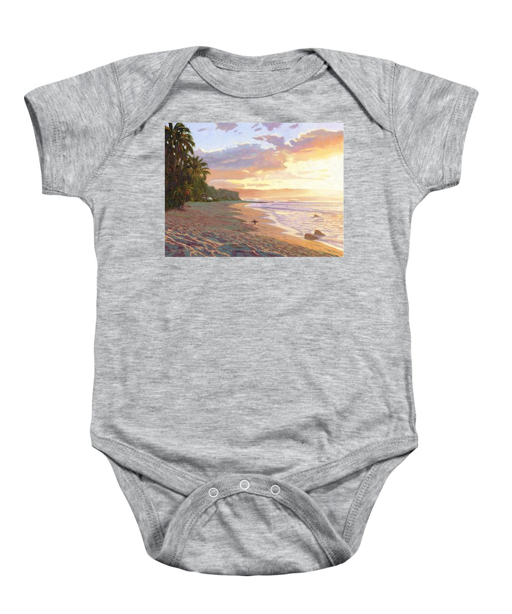 Sunset Beach Baby Onesie featuring the painting Sunset Beach - Oahu by Steve Simon
