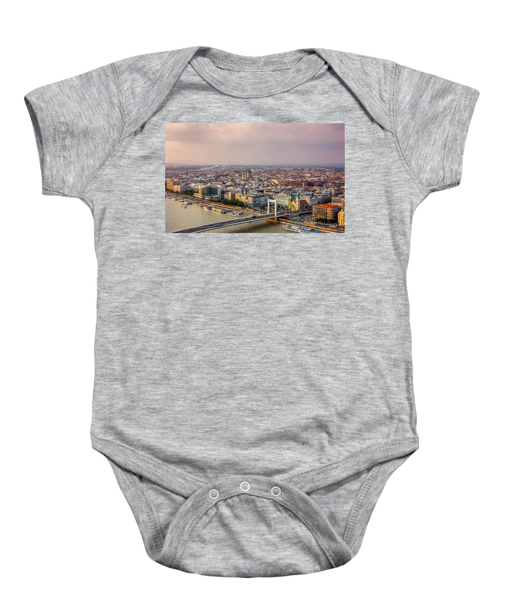Orange Baby Onesie featuring the photograph Sunset City by Pati Photography