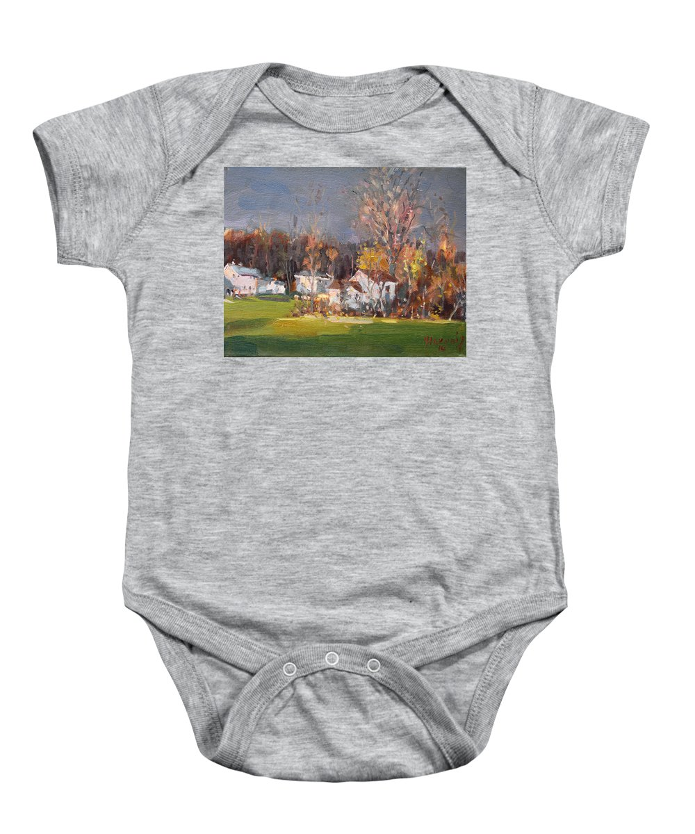 Sunset Light Baby Onesie featuring the painting Sunset Light by Ylli Haruni