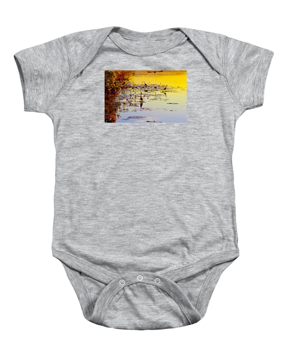 Birds Baby Onesie featuring the photograph Sunset On Parry's Lagoon by Penney Hayley