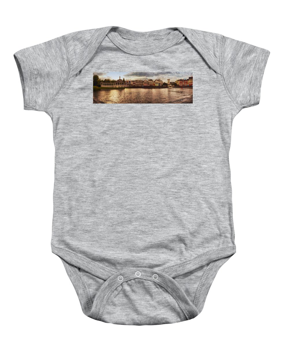 Boardwalk Baby Onesie featuring the photograph Sunset On The Boardwalk Walt Disney World by Thomas Woolworth