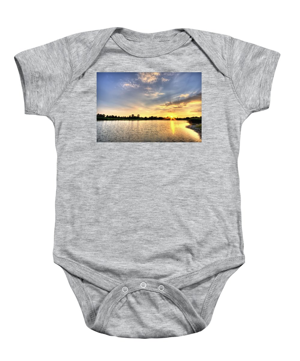 Hdr Baby Onesie featuring the photograph Sunset On The Pond by Scott Wood