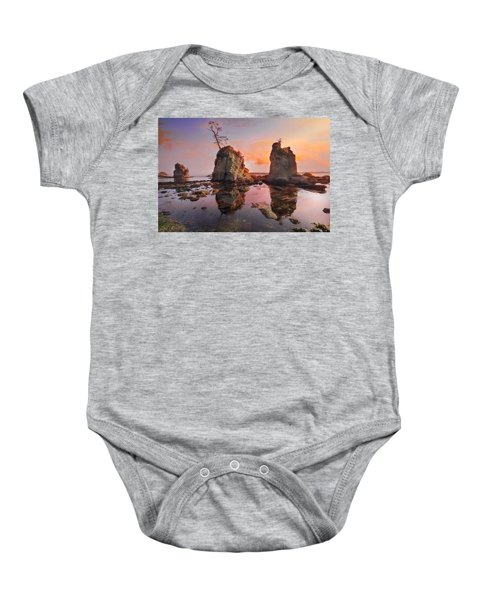 Sunset Baby Onesie featuring the photograph Sunset Over Pig And Sow Inlet At Oregon Coast by Jit Lim