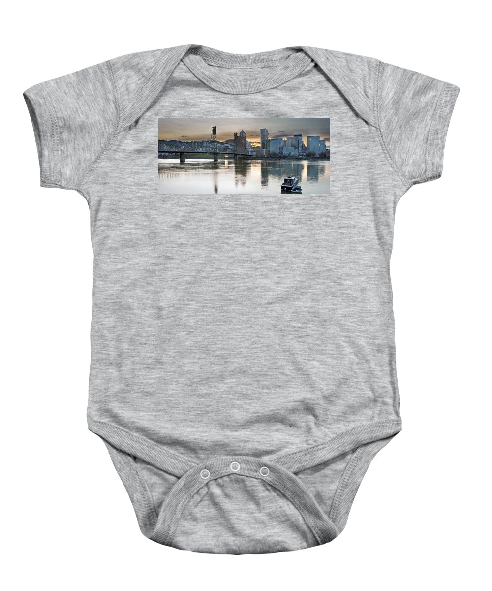 Sunset Baby Onesie featuring the photograph Sunset Over Portland City Skyline Panorama by Jit Lim
