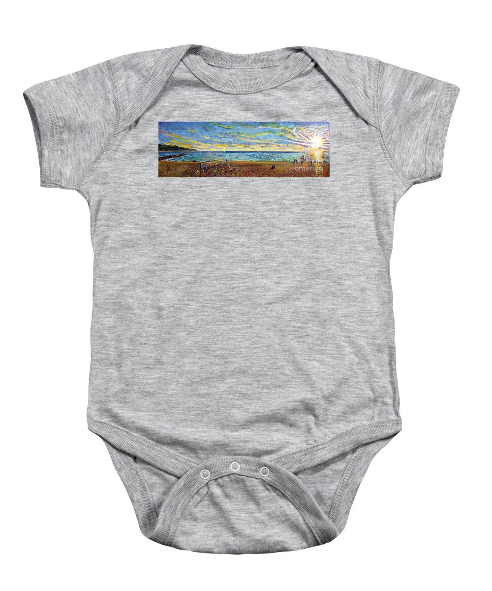 Old Silver Beach Baby Onesie featuring the painting Sunset Volleyball At Old Silver Beach by Rita Brown